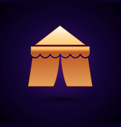 Gold circus tent icon isolated on dark blue vector