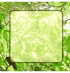 green square background with tree branches and vector image