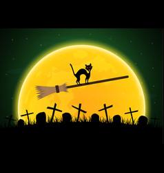 Halloween witch broomstick graveyard cat moon vector