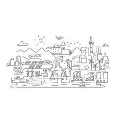 Hand line drawing futuristic eco city vector