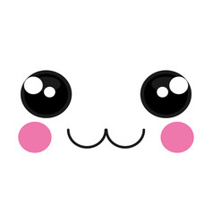 happy face emoticon kawaii style vector image