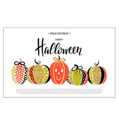 Happy halloween poster with cute glamorous vector