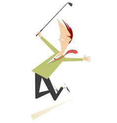 Jumping happy golfer vector