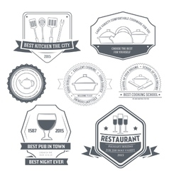 Kitchen equipment set label template of emblem vector