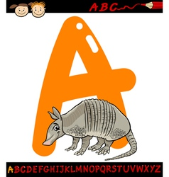 letter a for armadillo cartoon vector image