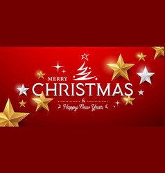merry christmas message gold stars design vector image