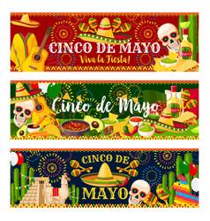 Mexican cinco de mayo fiesta banners vector