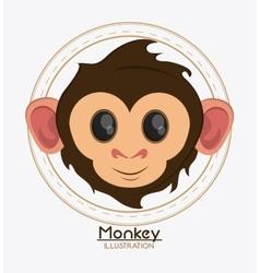 Monkey face cartoon animal design vector