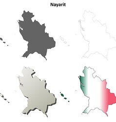 Nayarit blank outline map set vector