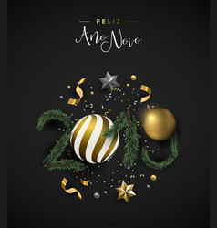 New year 2019 holiday decoration portuguese card vector