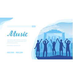 open air musical festival with fans and musicians vector image