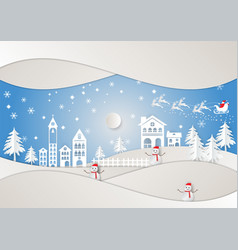paper art style winter holiday and city for vector image