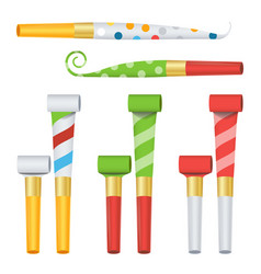 Party horn set color penny whistle top vector