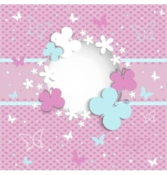 pink background with butterflies on frame vector image