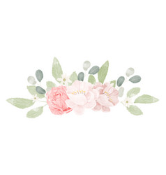pink pastel watercolor rose flower bouquet vector image