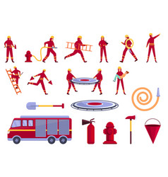 Rescuer icons set cartoon style vector