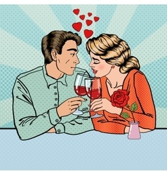 Romantic Couple with Glasses of Wine Pop Art vector image
