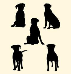 Rottweiler dog silhouette 02 vector