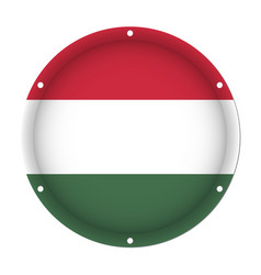 round metallic flag of hungary with screw holes vector image