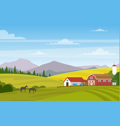 Rural landscape with farm vector