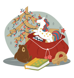 sack presents for kids on new year and xmas vector image