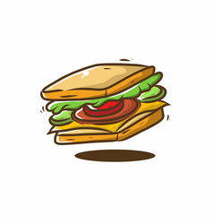 sandwich fast food drawing vector image