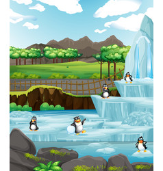 Scene with penguins on ice vector