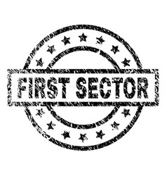 Scratched textured first sector stamp seal vector