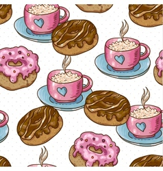 seamless background with cup coffee and donuts vector image