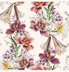 Seamless pattern with white lilies and tulips vector