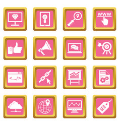 seo icons pink vector image