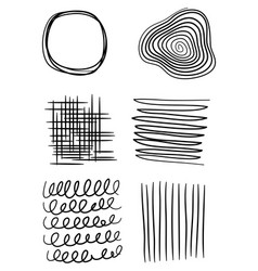 set hand drawn line art abstract graphic vector image