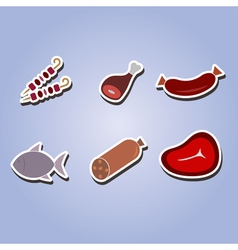 set of color icons with meat products vector image