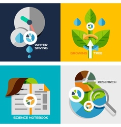 Set of flat design concepts - nature research vector