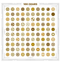 set of steampunk cogwheels victorian era vector image