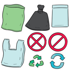 Set plastic bag and recycle icon vector