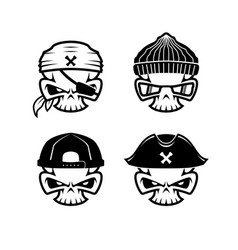 Set simple skull pirate hat bandana hiphop blac vector