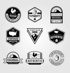 set vintage retro badge premium logo bundles vector image