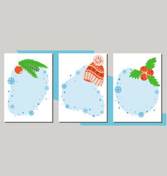 set winter sale banners template blue shapes vector image