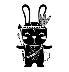 Silhouette cute rabbit animal with feathers and vector