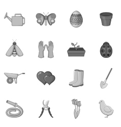 Spring icons set monochrome style vector