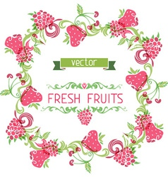 Square fruits frame vector image