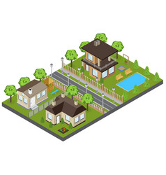 Suburb area buildings vector