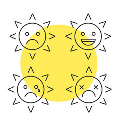 sun smiles linear icons set vector image