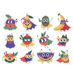 superhero fruit cute funny superhero fruits vector image