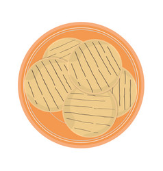 Top view arepas on a plate vector