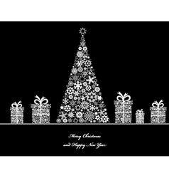 Tree with cristmass gifts vector