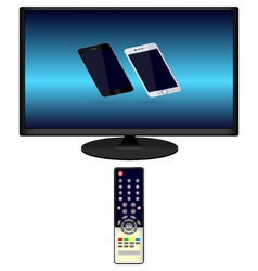 TV and TV remote phone vector image