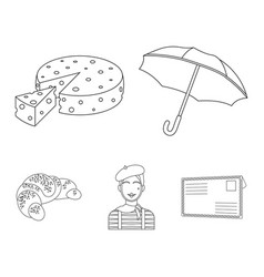 umbrella traditional cheese mime france vector image