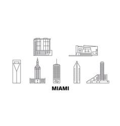 united states miami line travel skyline set vector image